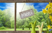 Window, Easter Bunny, Merci Means Thank You