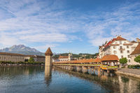 Lucerne (Luzern) Switzerland, city skyline at Chapel Bridge