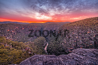 Sunset over Wollemi Natinal Park Wilderness