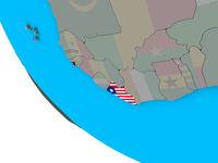 Liberia with flag on 3D globe