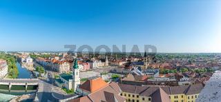 Oradea - Panorama of the historic center with Union Square, Saint Ladislau Bridge and Crisul River in Oradea, Romania