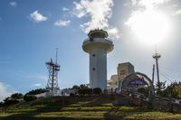 Panorama of Ganjeolgot Lighthouse and the Ganjeolgot building Complex with Communication Tower. Easternmost Point of Peninsula in Ulsan, South Korea. Asia