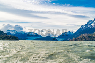 Beautiful landscape of Grey Glacier and Grey Lake at Torres del Paine National Park