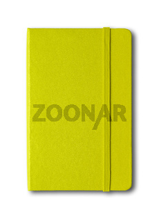 Lime green closed notebook isolated on white