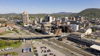 Aerial Perspective Homes on Hillside Downtown Uban City Center Roanoke Virginia