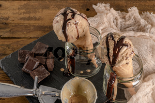Chocolate ice cream in waffle cones