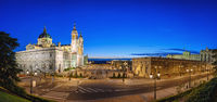 Madrid Spain, panorama city skyline sunset at Cathedral de la Almudena