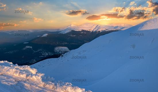 Sunset winter mountain