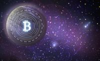 bitcoin symbol hologram over planet in space