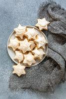 Homemade Christmas almond cookies with cinnamon.