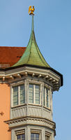 Oriel and turrets at the former restaurant and hotel 'Haus zum goldenen Adler', Constance