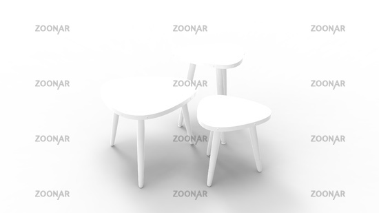 3d rendering of three coffee tables isolated in white background