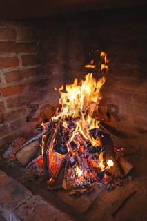 Fireplace fire for preparing traditional croatian dish peka