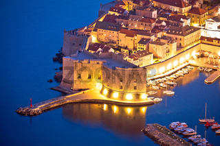 Dubrovnik harbor and strong defense walls aerial view