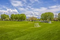 Soccer and baseball field with lush trees and buildings in the background