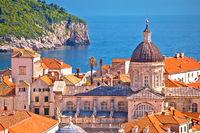 Historic landmarks of old Dubrovnik and Lokrum island view
