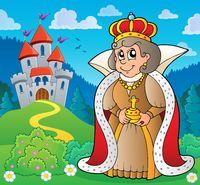 Happy queen near castle theme 4