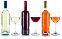 Wein Flaschen Weinflaschen Weingläser Gläser Rotwein Rose Weißwein Alkohol freigestellt Freisteller