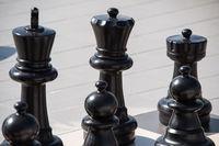 big black chess made of plastic. Selective focus macro shot with shallow DOF