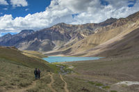 SPITI, INDIA, July 2016, Trekkers at Chandra Taal or Chandra Tal lake