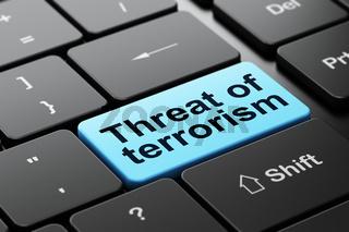 Politics concept: Threat Of Terrorism on computer keyboard background