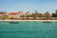 Sihanoukville, Cambodia. View from the sea to the city beach and boats