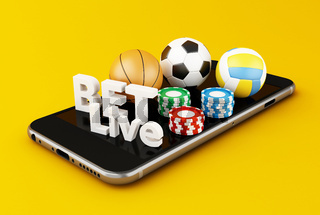 3d Smartphone with sport balls, chips and bet live.
