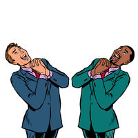 happy two businessman African and Caucasian, joyful emotions