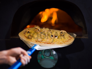 chef putting delicious pizza to brick wood oven