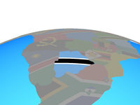 Map of Botswana with flag on globe