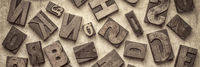 random wood type letters background