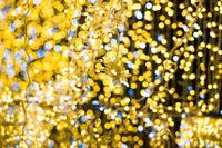 Christmas yellow lights on garland