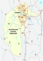 Map of the Australian Capital Territory with the capital canberra