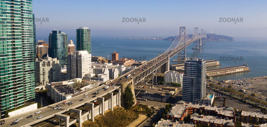 Dusk Twilight Bay Bridge Downtown San Francisco California