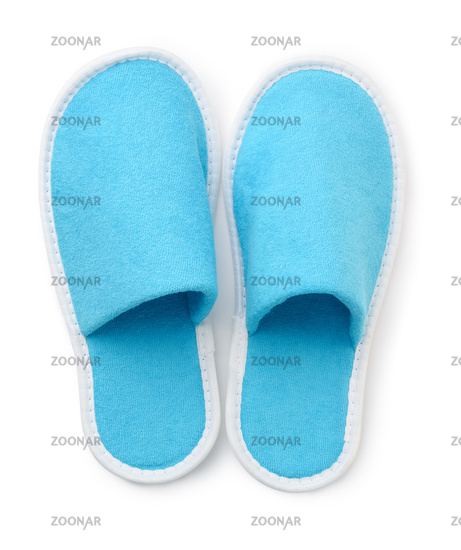 Top view of blue soft slippers