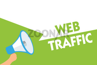 Word writing text Web Traffic. Business concept for Amount of data sent and received by visitors to a website Megaphone loudspeaker speech bubbles important message speaking out loud.