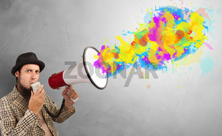 Paint splash with person and megaphone