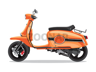 Vector orange retro scooter, flat style side view. Moped for delivery, scooter for tourism