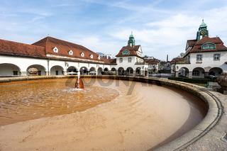 Brunnen in der Jugendstil Kuranlage Sprudelhof, Bad Nauheim