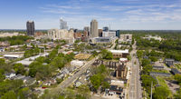 Aerial Perspective Elevating Up Over Raleigh North Carolina Urban Metro Area