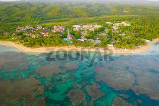 Drone shot of Bahia beach at sunny day