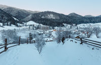 Daybreak winter Carpathian mountain village Zelene, Verkhovyna, Ukraine