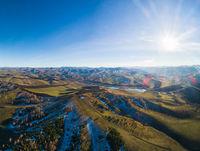 Drone view of autumn landscape