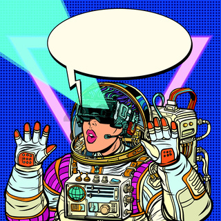 Woman astronaut in virtual reality glasses. Girls 80s