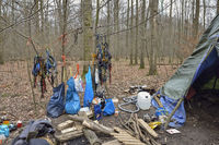 Climbing gear and camp of environmental activists in the Hambacher Forst