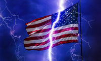 American flag in the thunderstorm