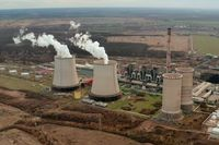 Power plant cooling tower aerial view