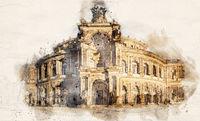 Watercolor Semperoper Dresden