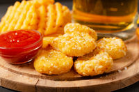 Portion of fresh made chili cheese nuggets