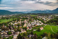 Aerial perspective view on touristic city in the valley